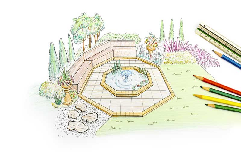 Een 3d ontwerp van een tuin