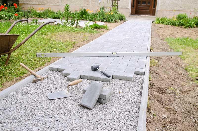 Diverse soorten stenen om een pad te maken